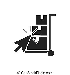 delivery cart with business icon