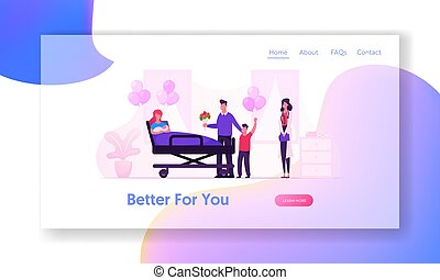 Delivery Childbirth Clinic Website Landing Page. Happy Family Meet Mother with Newborn Baby in Chamber of Maternity Hospital. Mom and New Born Child Web Page Banner. Cartoon Flat Vector Illustration