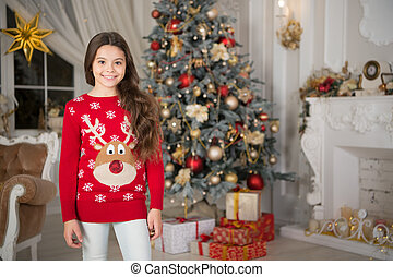 delivery christmas gifts. happy new year. happy little girl celebrate winter holiday. christmas time. Cute little child girl with xmas present. Christmas composition