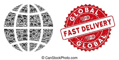 Delivery Collage Planet Globe with Grunge Fast Delivery Stamp