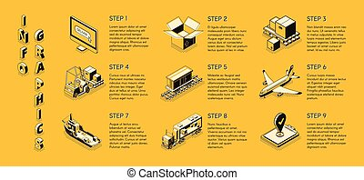 Delivery company isometric vector infographics