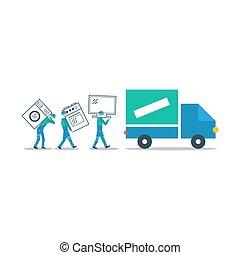 Truck delivery, transportation concept, workers loading illustration