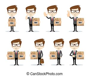 Delivery concept. businessman holding package. Flat style