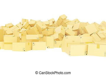 Delivery concept. Cardboard boxes background. Space for text. 3d rendering