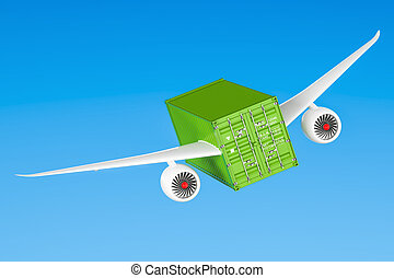 Delivery concept. Cargo container with wings flying in the sky, 3D rendering