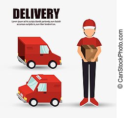 delivery concept character truck icon design