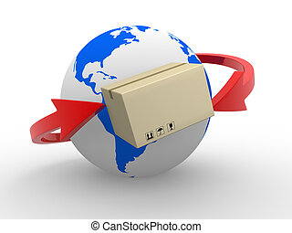 Delivery - Concept of delivering packages worldwide. Earth...