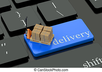 Delivery concept on blue keyboard button