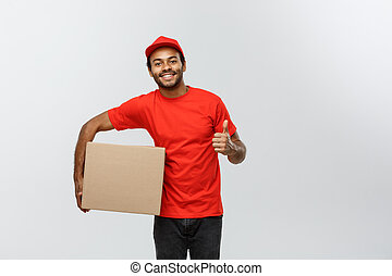 Delivery Concept - Portrait of Happy African American ...