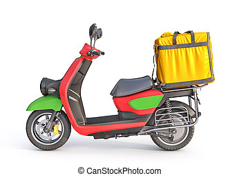 Delivery concept. Thermal backpack for contactless food delivery to customers home with e-moped. Online ordering food. 3d illustration