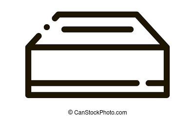 Delivery Container Packaging Element animated black icon on white background