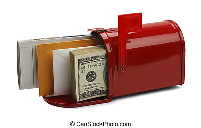 Delivery Cost - Red Mailbox Filled with Mail and Money...