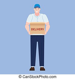 Delivery courer character man with package parcel box. Vector illustration isolated