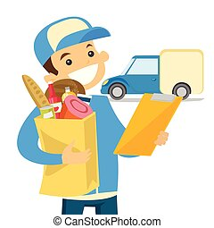 Delivery courier delivering food to customer.