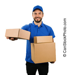 delivery courier giving cardboard shipping box. isolated on white background