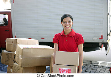 delivery courier or mover delivering cardboards