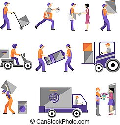 Delivery, courier service, person freight logistic business service icons
