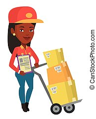 Delivery courier with cardboard boxes.