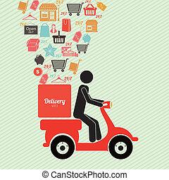 delivery design - delivery design over lineal background...