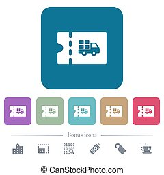 Delivery discount coupon flat icons on color rounded square...