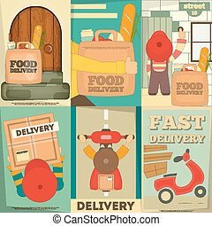 Delivery - Food Delivery. Posters Set. Flat Character...