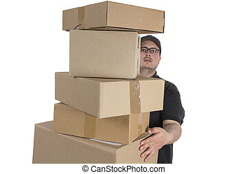 delivery driver with a stack of parcels