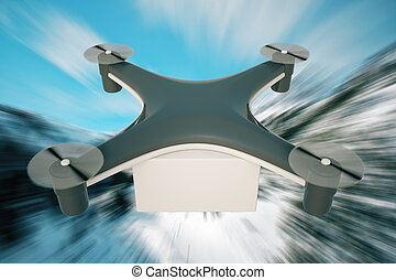 Delivery drone abstract blue background