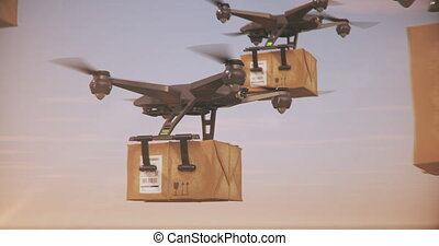Delivery drones - Group of Quadrocopters delivering...