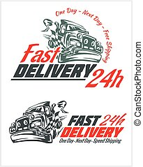 Delivery elements. Gray and red shipping signs collection....