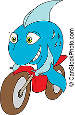 delivery fish - vector illustration of a fish riding a ...