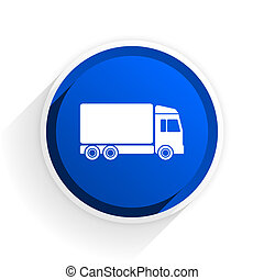 delivery flat icon with shadow on white background, blue modern design web element