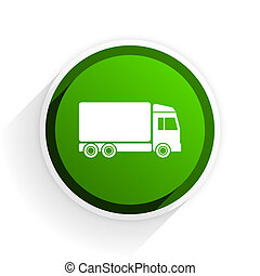 delivery flat icon with shadow on white background, green modern design web element