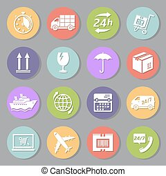 Delivery flat icons set