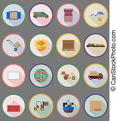 delivery flat icons vector illustration