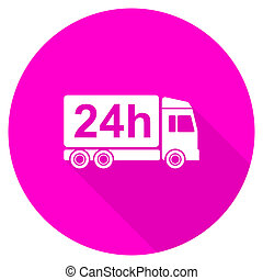 delivery flat pink icon