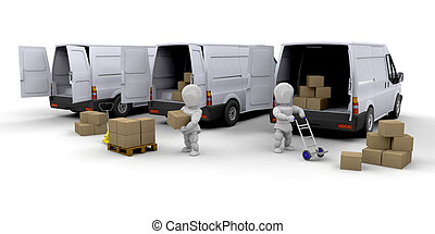 Delivery fleet - 3D render of people unloading and loading ...