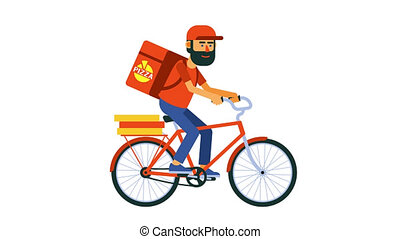 Delivery food cyclist courier rides a bike. Flat cartoon ...