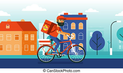 Delivery food cyclist rides a bike on street background. ...