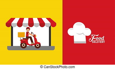 delivery food ecommerce technology with laptop , hd video...