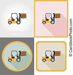 delivery forklift truck flat icons vector illustration