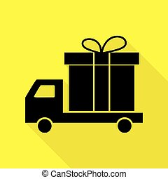 Delivery gift sign. Black icon with flat style shadow path on yellow background.