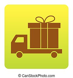 Delivery gift sign. Vector. Brown icon at green-yellow gradient square with rounded corners on white background. Isolated.
