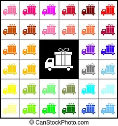 Delivery gift sign. Vector. Felt-pen 33 colorful icons at white and black backgrounds. Colorfull.