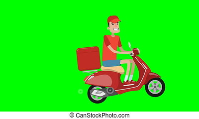 Delivery guy rides on scooter. - Cartoon delivery guy rides...