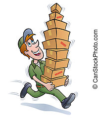 Delivery Guy Running with Packages - Cartoon illustration of...