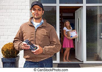 Delivery guy with Wireless PIN machine