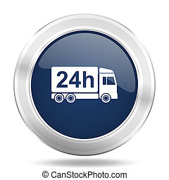 delivery icon, dark blue round metallic internet button, web and mobile app illustration