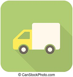Delivery icon flat design with long shadows