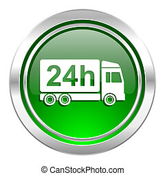 delivery icon, green button, 24h shipping sign