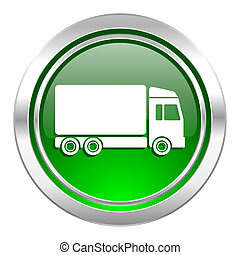 delivery icon, green button, truck sign